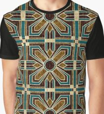 Art Deco Floral Tiles in Brown and Teal Graphic T-Shirt