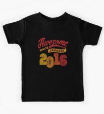 Awesome Since January 2016 Shirt Vintage 2nd Birthday Kids Tee