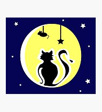 Cat and Full Moon on a Blue Background Photographic Print