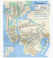 New York City - NYC - USA - Subway Map HD - High-Quality Poster