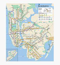 New York City - NYC - USA - Subway Map HD - High-Quality Photographic Print