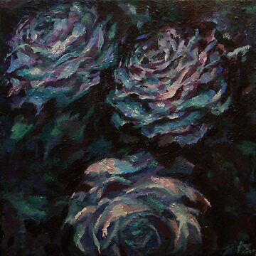 Three blue roses on square background by Anthropolog