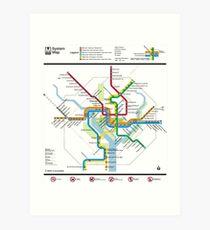 Washington Metro Map - United States Art Print