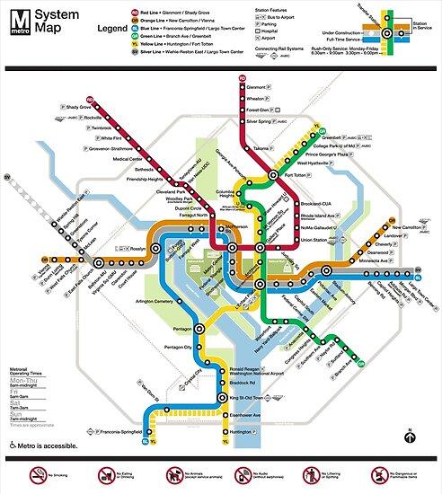 Washington Metro-Karte - Vereinigte Staaten von Amerika von superfunky