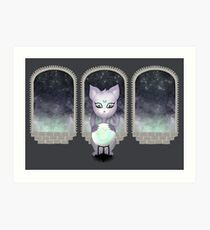 Mystic Miku | Crystal Ball & Zodiac | Dark Grey Art Print