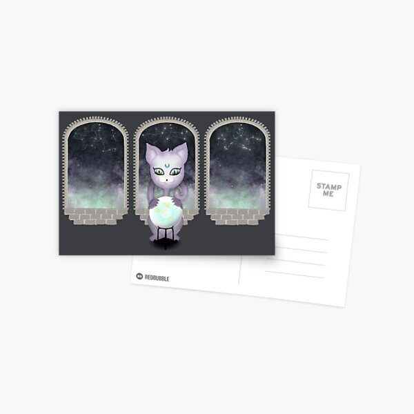 Mystic Miku | Crystal Ball & Zodiac | Dark Grey Postcard