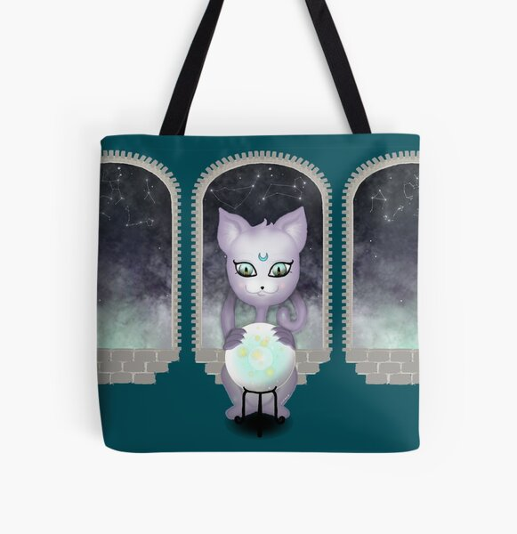 Mystic Miku   Crystal Ball & Zodiac   Teal All Over Print Tote Bag