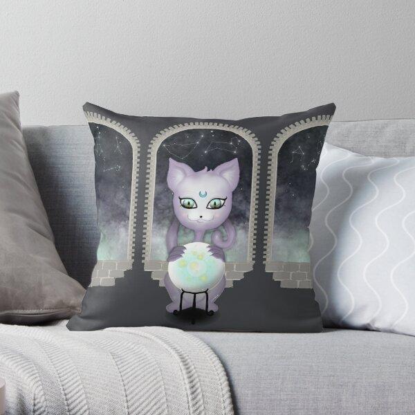 Mystic Miku | Crystal Ball & Zodiac | Dark Grey Throw Pillow