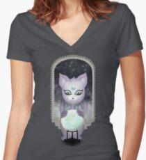 Mystic Miku   Crystal Ball & Zodiac   Dark Grey Fitted V-Neck T-Shirt