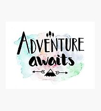 Adventure Awaits Watercolor Lettering Photographic Print