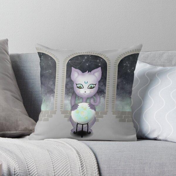 Mystic Miku | Crystal Ball & Zodiac | Light Grey Throw Pillow