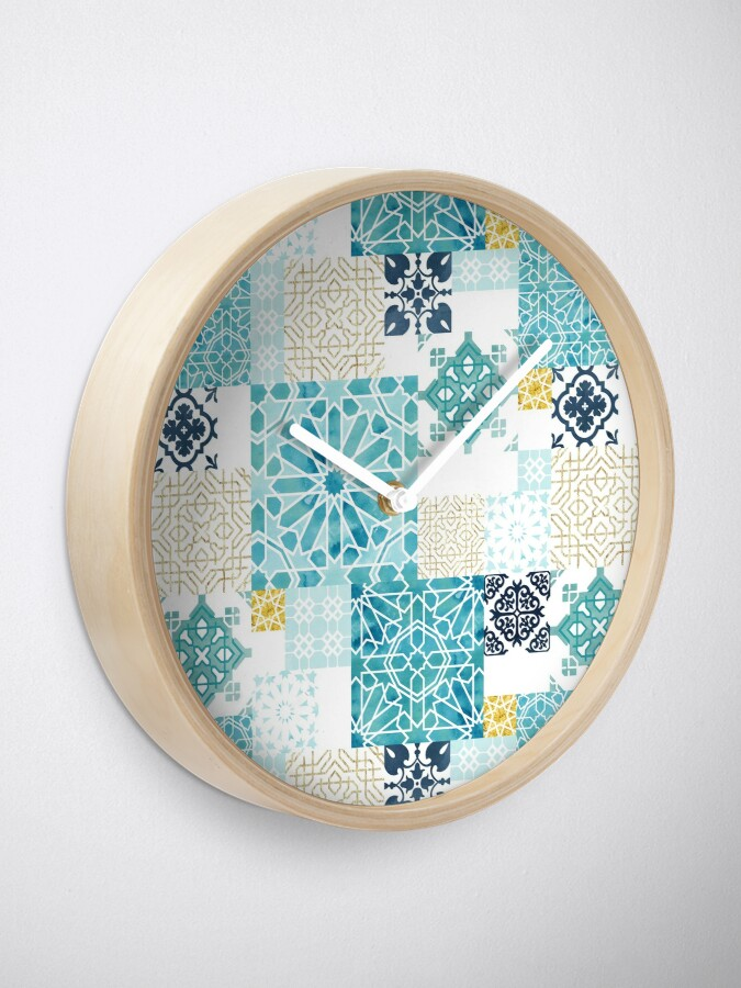 Alternate view of Moroccan ceramic pattern collage in gold Clock