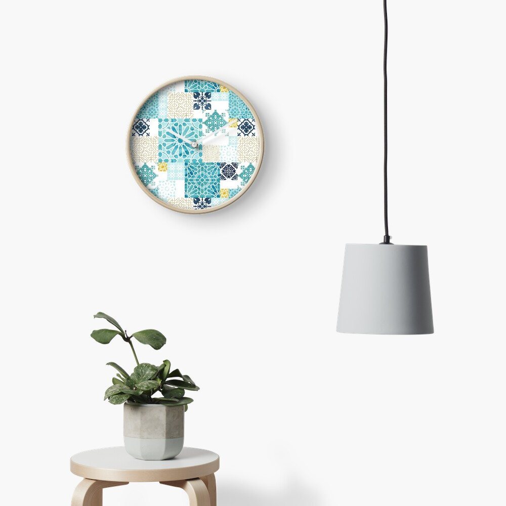 Moroccan ceramic pattern collage in gold Clock