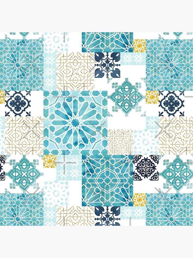 Moroccan ceramic pattern collage in gold by adenaJ