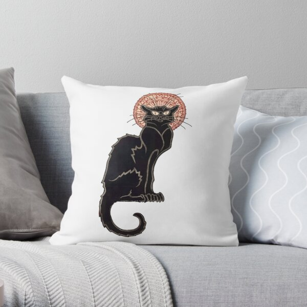 Black Cat-Le Chat Noir Throw Pillow