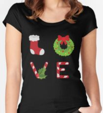 Love Christmas Themed Women's Fitted Scoop T-Shirt