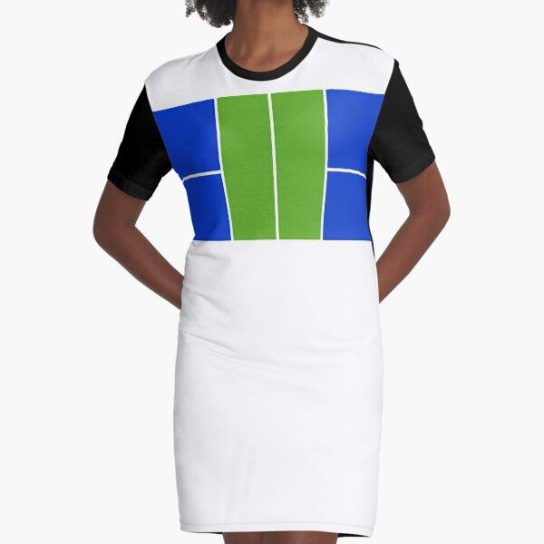 Pickleball Court Design Green & Blue, No Text  Graphic T-Shirt Dress