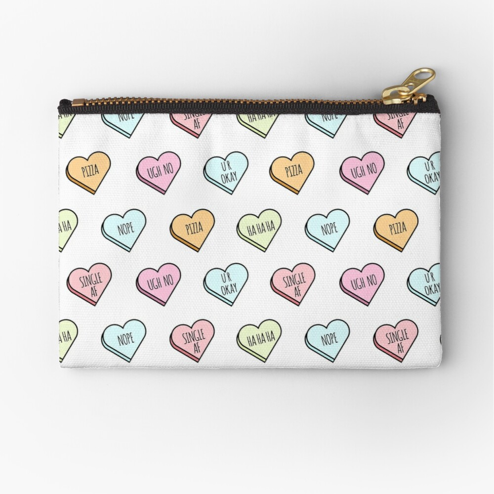 Sassy & Sarcastic Candy Heart Pattern Zipper Pouch
