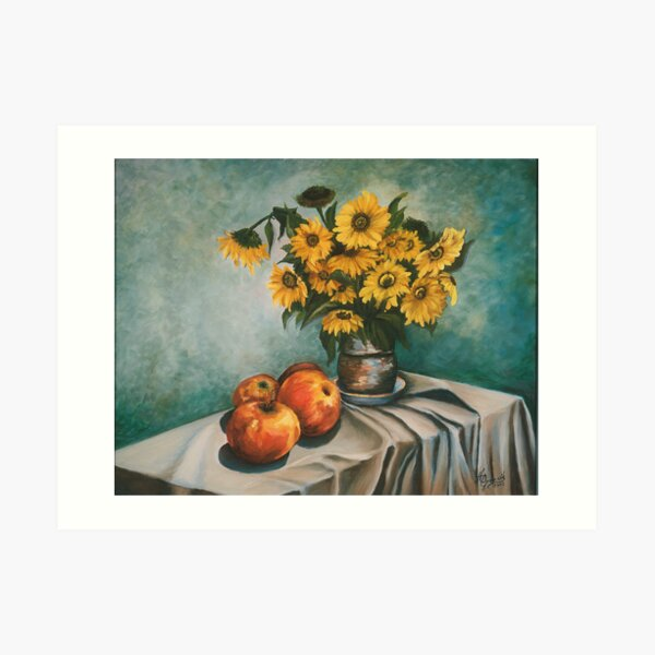 Apples and Sunflowers Art Print