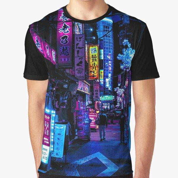 Blue Tokyo Alleys Graphic T-Shirt