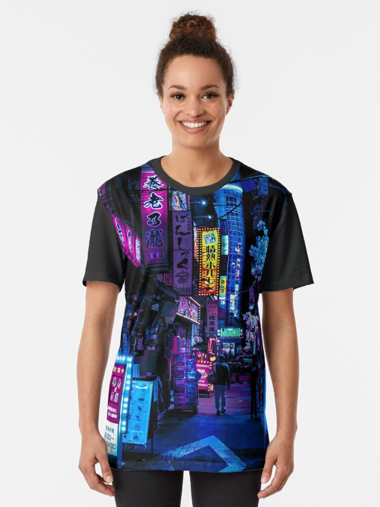 Alternate view of Blue Tokyo Alleys Graphic T-Shirt