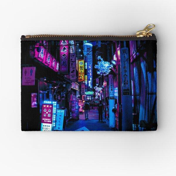 Blue Tokyo Alleys Zipper Pouch
