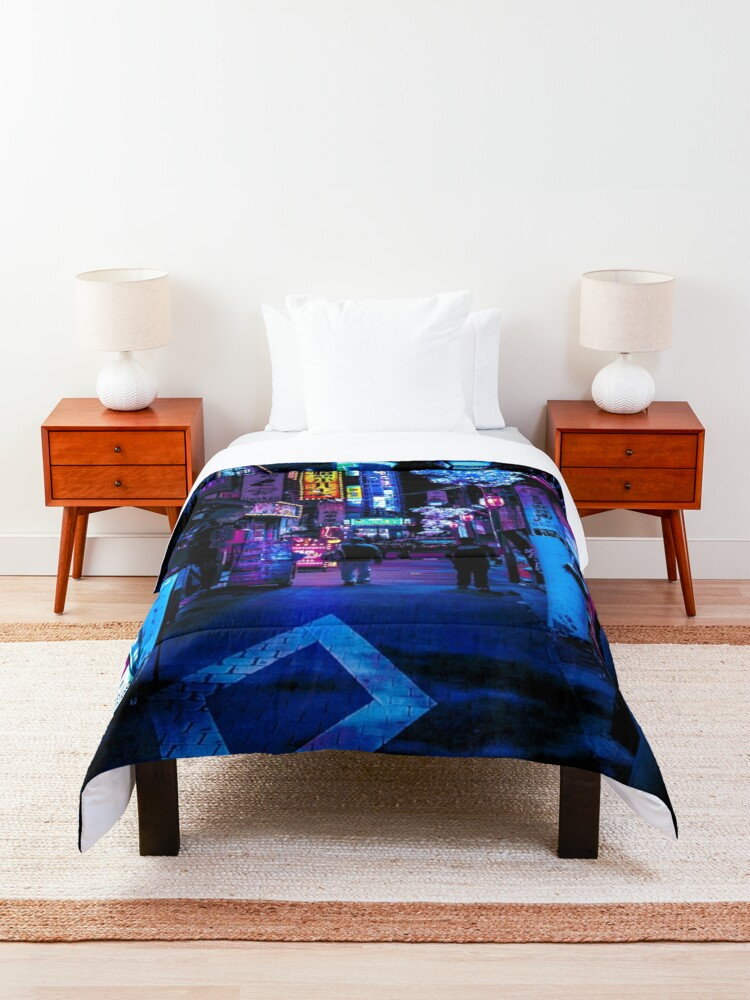 Alternate view of Blue Tokyo Alleys Comforter