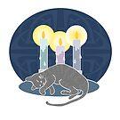 Schlafende Katze und Kerzen von Elsbet