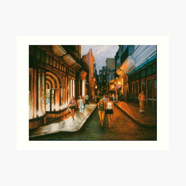 Downtown at Dusk Art Print
