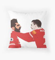 Mo Salah and Andrew Robertson celebrating goal against City Throw Pillow