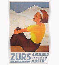 Zurs, Austria Vintage Ski Travel Poster Poster