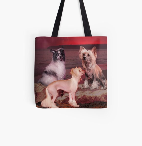 Chinese Crested Dog Allover-Print Tote Bag