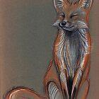 Foxy - Original prisma pencil drawing of a beautiful fox by Rebecca Rees