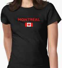 Montreal Canada Canadian Flag Color Dark Women's Fitted T-Shirt