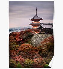 Kiyomizu-dera Sanjunoto pagoda in Kyoto in autumn sunset scenery art photo print Poster