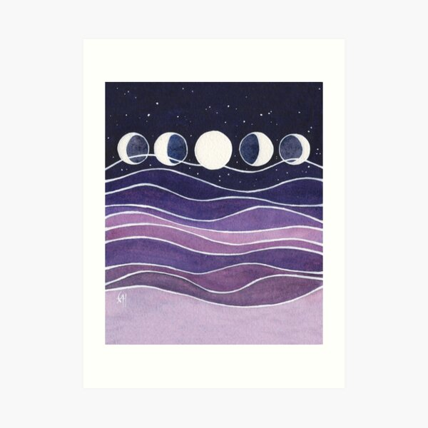 Purple Mountains and Moon Art Print