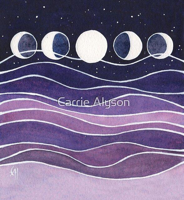 Lila Berge und Mond von Carrie Alyson