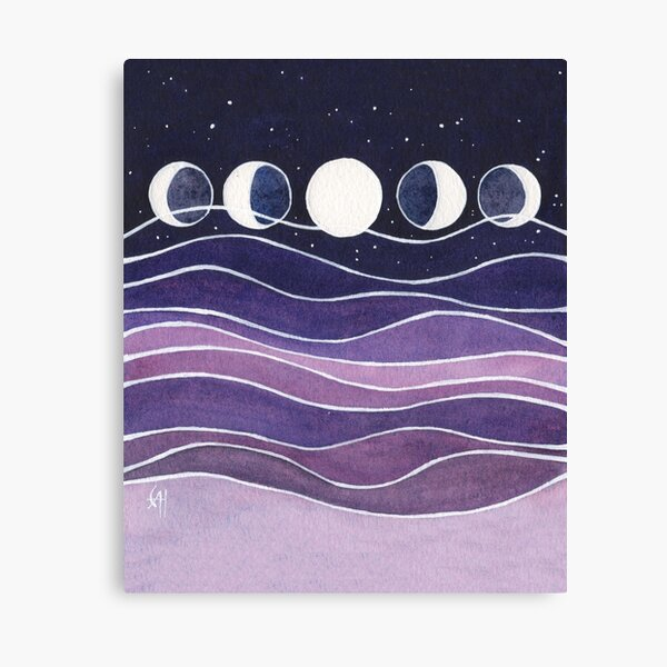 Purple Mountains and Moon Canvas Print