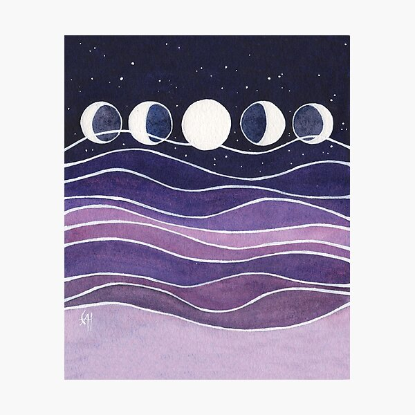 Purple Mountains and Moon Photographic Print