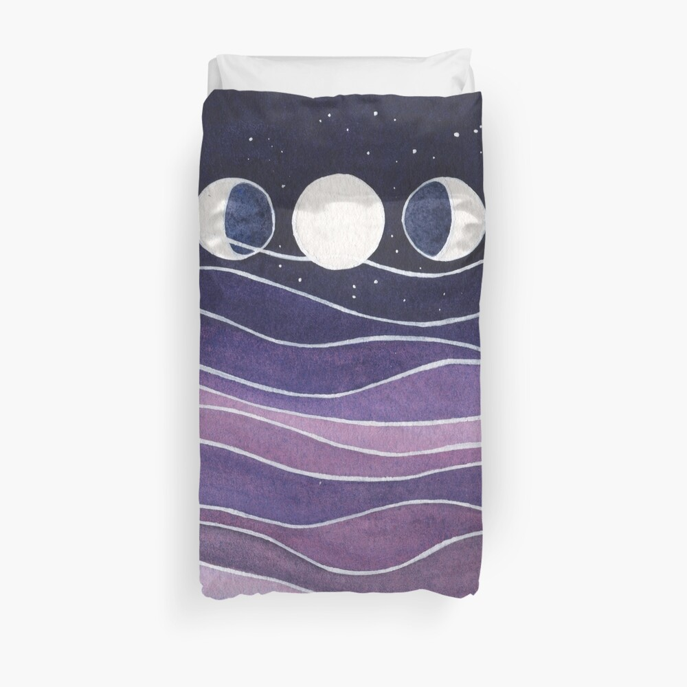 Purple Mountains and Moon Duvet Cover