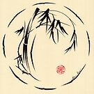 Celestial Bamboo - Enso Ink Brush Pen Bamboo Zen Painting by Rebecca Rees