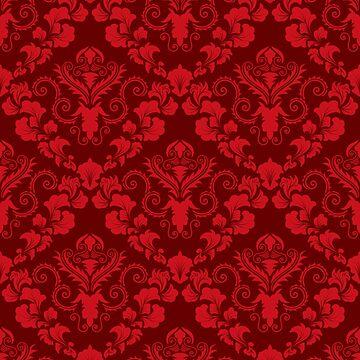 Fiery Red Damask Snake Skin Pattern by turtlebird