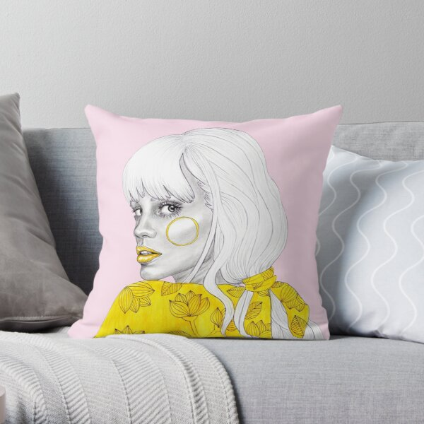 Yellow girl - pink Throw Pillow