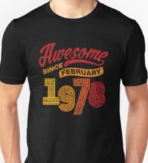 Awesome Since February 1978 Shirt Vintage 40th Birthday Slim Fit T-Shirt