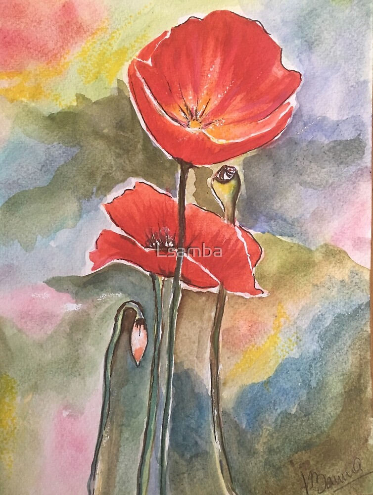 Two poppies  by Lynn  Samara-Banna