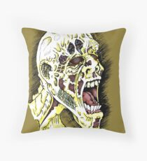 Screaming Zombie - Colourised Throw Pillow