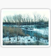 Winter Lake Scene with Geese Sticker