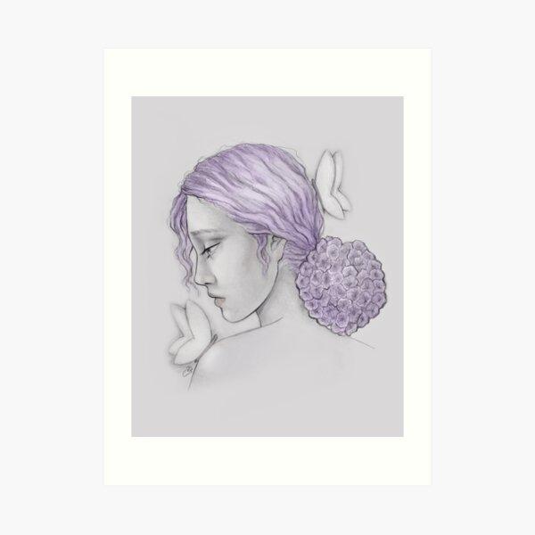 Hydrangea Girl Art Print