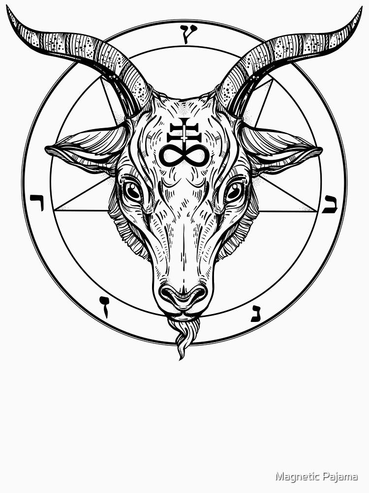 Baphomet Goat Head with Pentagram Occult Symbolism or Satanist Symbols by MagneticMama