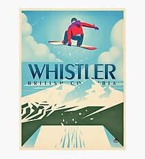 """""""Snowboard Booter"""" Whistler, BC Travel Poster Photographic Print"""